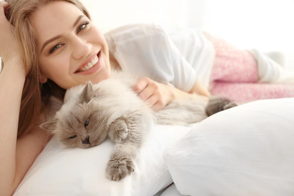 Учёные объяснили, почему полезно брать кота и собаку в постель