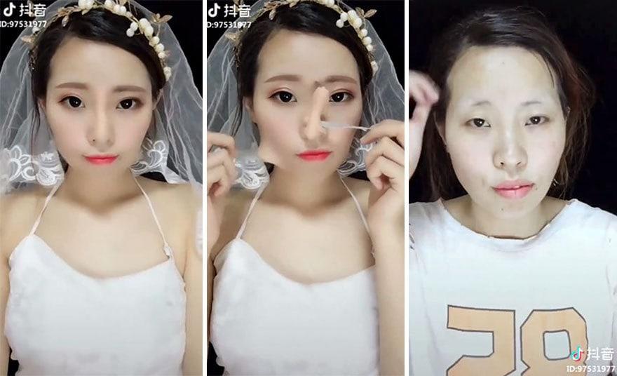 В сети появились кадры того, как 20 азиатских девушек снимают мэйк-ап. К такому мы готовы не были